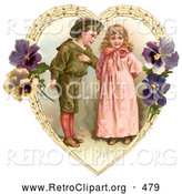 Retro Clipart of a Friendly Sweet Little Boy Trying to Woo a Little Girl in a Heart of Leaves and Pansy Flowers, Circa 1890 by OldPixels