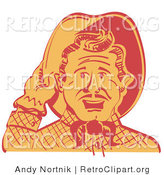 Retro Clipart of a Friendly Two Tone Cowboy Man Tipping His Hat While Saying Howdy by Andy Nortnik