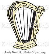 Retro Clipart of a Gold Harp Instrument over a Solid White Background by Andy Nortnik