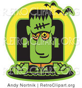 Retro Clipart of a Green Frankenstein on Halloween with Vampire Bats by Andy Nortnik