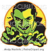 Retro Clipart of a Green Male Vampire with Dark Hair Slicked Back, Reaching Outwards While Grinning and Showing His Fangs As a Vampire Bat Flies in the Distance by Andy Nortnik