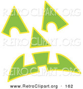 Retro Clipart of a Green Pumpkin Face Glowing on White by Andy Nortnik