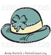Retro Clipart of a Green St Paddy's Day Hat with a Clover on the Front by Andy Nortnik