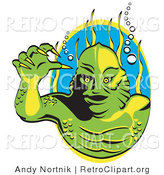 Retro Clipart of a Green Swamp Monster with Yellow Talons and Scaly Skin, Breathing Underwater with Bubbles and Aquatic Plants Behind Him by Andy Nortnik