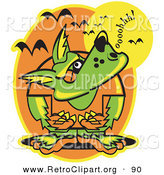 March 20th, 2013: Retro Clipart of a Green Werewolf Howling at the Moon As Vampire Bats Fly Above by Andy Nortnik