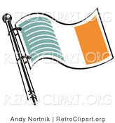 Retro Clipart of a Green White and Orange Irish Flag on a Flagpole Waving in the Breeze by Andy Nortnik