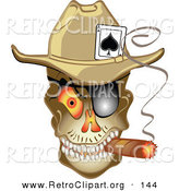 Retro Clipart of a Grinning Evil Skeleton Cowboy with an Ace of Spades in His Hat, Smoking a Cigar by Andy Nortnik