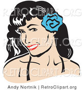 Retro Clipart of a Grinning Pretty Brunette Woman with a Blue Flower in Her Hair by Andy Nortnik