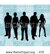 Retro Clipart of a Group of 5 Black Silhouetted People Standing over a Retro Blue Background with Rectangle Designs by KJ Pargeter