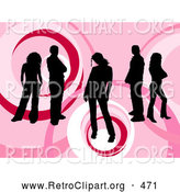 Retro Clipart of a Group of Five Black Silhouetted People Standing over a Retro Pink Circular Background with Circle Designs by KJ Pargeter