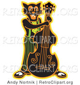 Retro Clipart of a Halloween Black Cat Playing a Bass Fiddle in a Band by Andy Nortnik