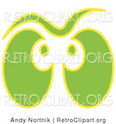 Retro Clipart of a Halloween Pair of Green and Yellow Ghost Eyes Glowing by Andy Nortnik