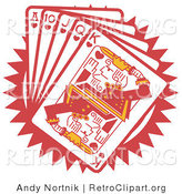 Retro Clipart of a Hand of Red Poker Playing Cards Including the Ace of Hearts, 10 of Hearts, Jack of Hearts, Queen of Hearts and King of Hearts by Andy Nortnik