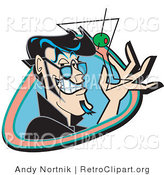 Retro Clipart of a Handsome Black Haired Man Grinning and Holding up a Martini Glass with an Olive Using Two Fingers by Andy Nortnik