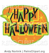 Retro Clipart of a Happy Halloween Bar Sign on Orange by Andy Nortnik