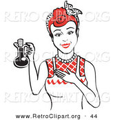 Retro Clipart of a Happy Housewife Woman in an Apron, Holding up a Bottle of Cooking Oil by Andy Nortnik