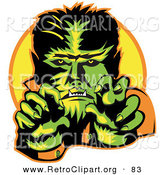 Retro Clipart of a Happy Male Werewolf Showing Fangs and Talons While Cast in Green and Yellow Lighting by Andy Nortnik