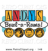 "Retro Clipart of a Happy Man, Woman, Boy and Girl, Laughing and Having Fun on a Vintage ""Andy's Bowl-A-Rama!"" Sign by Andy Nortnik"