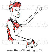 Retro Clipart of a Happy Red Haired Housewife or Maid Woman Singing While Ironing Clothes and Doing the Laundry by Andy Nortnik