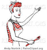 Retro Clipart of a Happy Red Head Housewife or Maid Woman in an Apron, Singing and Using a Spoon While Baking in the Kitchen by Andy Nortnik