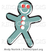 Retro Clipart of a Happy, Smiling Gingerbread Man Cookie by Andy Nortnik