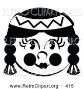 Retro Clipart of a Happy Smiling Native American Indian Girl by Andy Nortnik