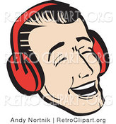 Retro Clipart of a Happy Young Man Wearing Ear Red Muffs and Singing Christmas Carols by Andy Nortnik