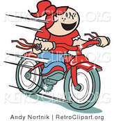 Retro Clipart of a Happy Young Red Haired Girl Speeding Downhill on Her Brand New Red Bike by Andy Nortnik