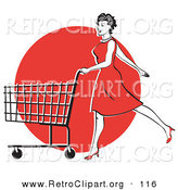 Retro Clipart of a Happy Young Woman in a Red Dress and High Heels, Walking and Pushing a Shopping Cart in Front of a Red Circle by Andy Nortnik