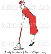 Retro Clipart of a Hard Working Red Haired Housewife or Maid Woman in a Long Red Dress and High Heels Using a Mop to Clean the Floors by Andy Nortnik