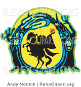 Retro Clipart of a Headless Horseman Holding His Pumpkin Head up High As His Horse Rears up in a Haunted Forest of Evil Trees, Silhouetted Against the Full Moon by Andy Nortnik