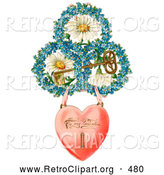 Retro Clipart of a Heart Locket Suspended from Rings of Blue Flowers Around White Daisies with a Gold Skeleton Key Circa 1890, on White by OldPixels