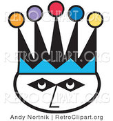 Retro Clipart of a Joker's Face Wearing a Jester Hat with Colorful Poms by Andy Nortnik