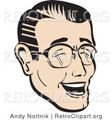 Retro Clipart of a Laughing, Happy Retro Man Wearing Glasses by Andy Nortnik