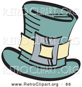 Retro Clipart of a Leprechaun's Green Tophat with a Buckle over White by Andy Nortnik