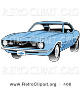 Retro Clipart of a Light Blue 1968 Chevrolet SS Camaro Muscle Car with a Chrome Bumper Driving Forward by Andy Nortnik