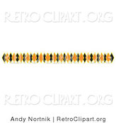 Retro Clipart of a Line Border of Black and Orange Diamonds by Andy Nortnik