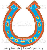 Retro Clipart of a Lucky Blue, Red and Orange Horseshoe on a Solid White Background by Andy Nortnik