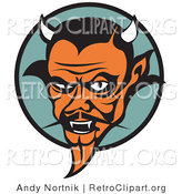 Retro Clipart of a Mean Old Orange Male Devil with Fangs and Horns by Andy Nortnik