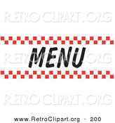 Retro Clipart of a Menu Sign with Red Checker Borders and Black Text by Andy Nortnik