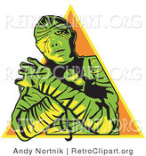 Retro Clipart of a Mummy Wrapped up with His Arms Crossed in Front of Him and Cast in Green and Yellow Hues over an Orange Pyramid by Andy Nortnik