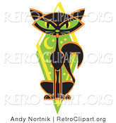 Retro Clipart of a Mysterious Thin Black Cat with Green Eyes Sitting in Front of a Green Diamond with the Moon and Stars by Andy Nortnik