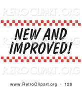 Retro Clipart of a New and Improved Sign with Red Checker Borders on White by Andy Nortnik