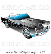 June 13th, 2013: Retro Clipart of a New Black 1955 Ford Thunderbird Car with a White Removable Fiberglass Top and Chrome Accents by Andy Nortnik
