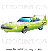 Retro Clipart of a New Green 1970 Plymouth Road Runner Superbird Racing Car with a Large Spoiler in the Back by Andy Nortnik