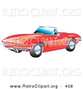 Retro Clipart of a New Red 1963 Convertible Chevrolet Corvette with the Top down and Crome Bumpers by Andy Nortnik