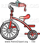 Retro Clipart of a New Red Trike Bike with a Bell on the Handlebars on White by Andy Nortnik