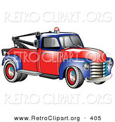 Retro Clipart of a New Vintage Blue and Red 1953 Chevy Tow Truck with a Light on Top of the Roof by Andy Nortnik