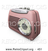 Retro Clipart of a Old Fashioned Retro Pink Radio with a Station Dial, on a White Surface by KJ Pargeter