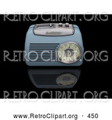 Retro Clipart of a Old Fashioned Vintage Blue Radio with a Station Tuner, on a Reflective Black Surface by KJ Pargeter